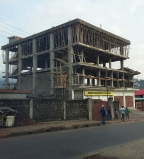 Wooden scaffolding on a building