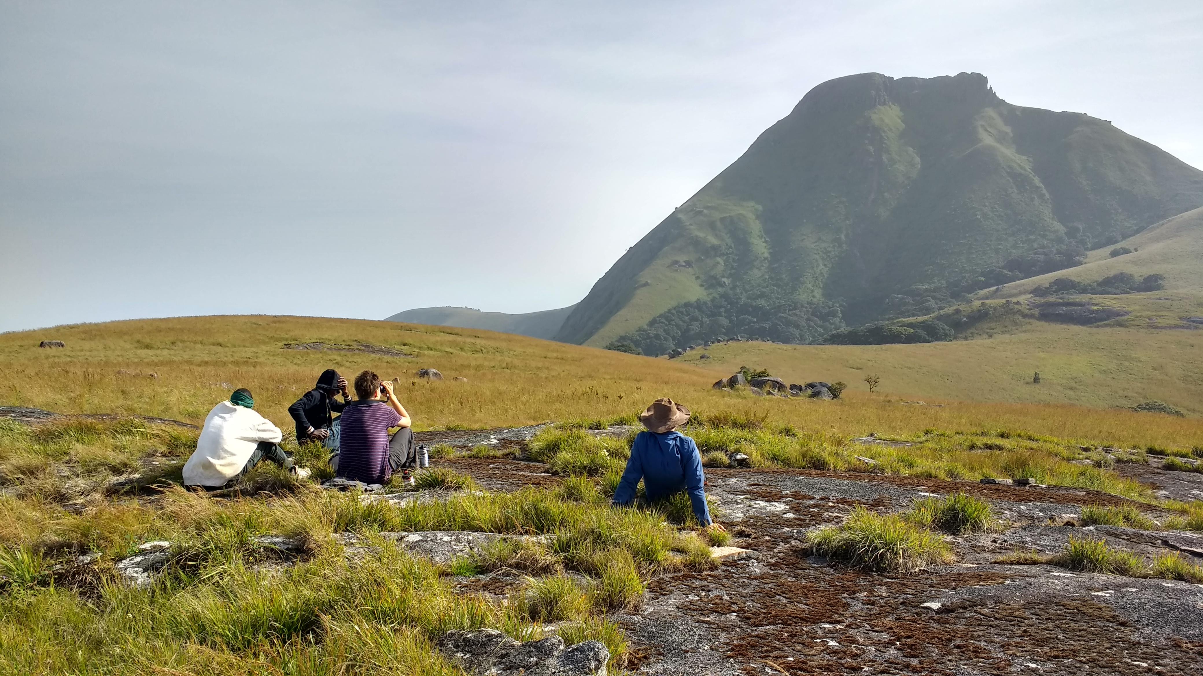 Walkers look up at Mt Bintumani